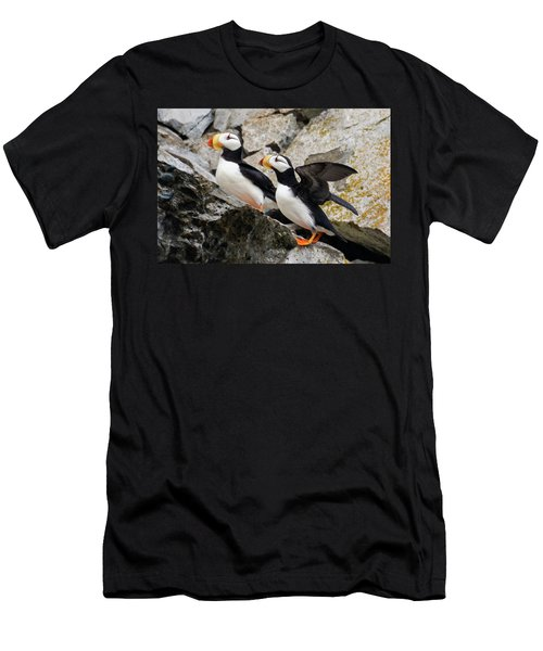 Horned Puffin Pair Men's T-Shirt (Athletic Fit)