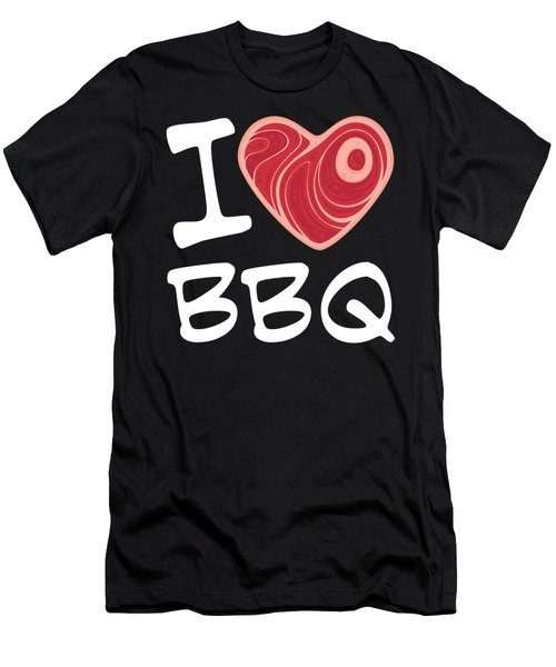 I Love Bbq - White Text Version Men's T-Shirt (Athletic Fit)