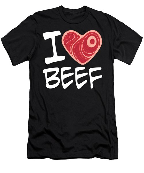 I Love Beef - White Text Version Men's T-Shirt (Athletic Fit)