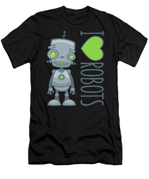 I Love Robots Men's T-Shirt (Athletic Fit)