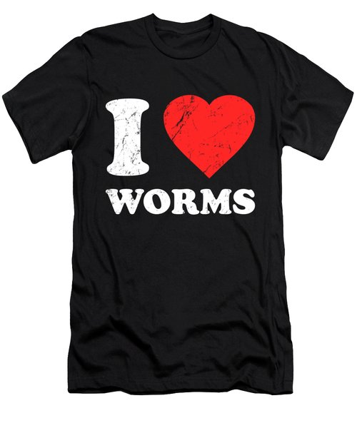 I Love Worms Men's T-Shirt (Athletic Fit)