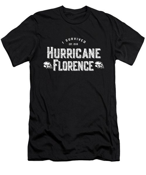 Men's T-Shirt (Athletic Fit) featuring the digital art I Survived Hurricane Florence 2018 by Flippin Sweet Gear
