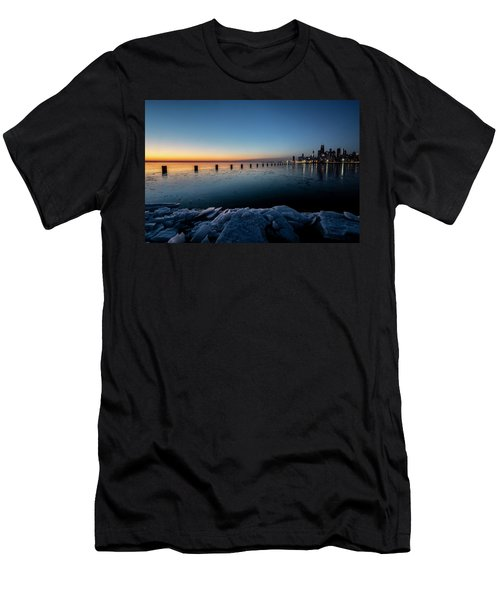 Icy Chicago Skyline At Dawn  Men's T-Shirt (Athletic Fit)