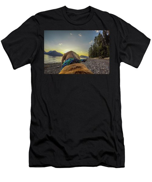 Men's T-Shirt (Athletic Fit) featuring the photograph Jackson Lake Sunset By Photo Dog Jackson by Matthew Irvin