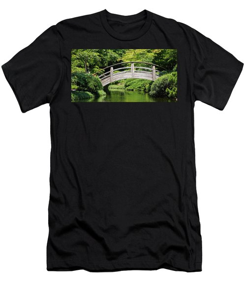 Men's T-Shirt (Athletic Fit) featuring the photograph Japanese Garden Arch Bridge In Springtime by Debi Dalio