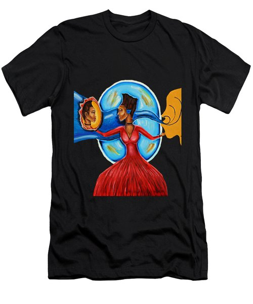 African Goddess Lady In Red Afrocentric Art Mother Earth Black Woman Art Men's T-Shirt (Athletic Fit)