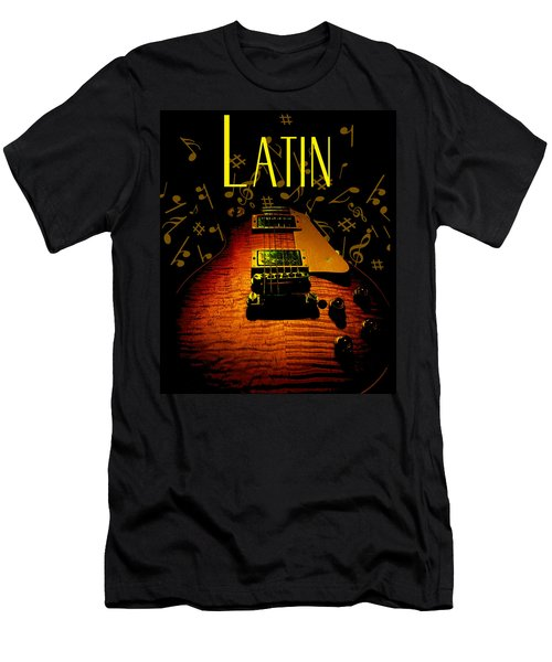 Latin Guitar Music Notes Men's T-Shirt (Athletic Fit)