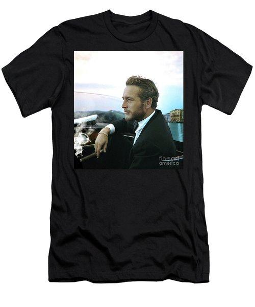 Life Is A Journey, Paul Newman, Movie Star, Cruising Venice, Enjoying A Cuban Cigar Men's T-Shirt (Athletic Fit)