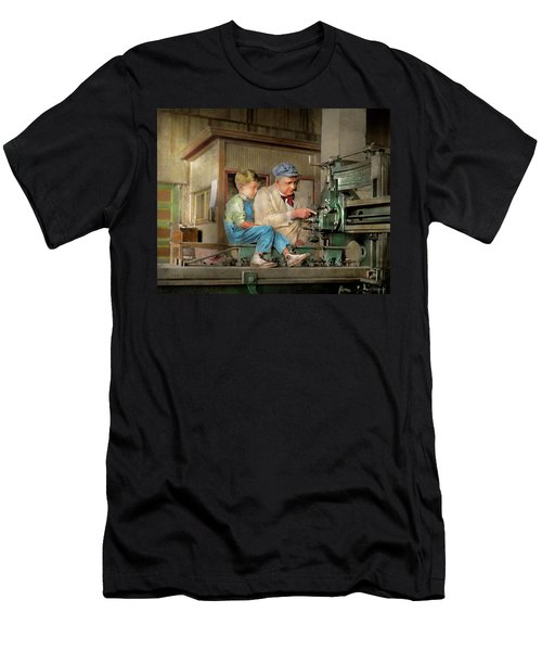 Men's T-Shirt (Athletic Fit) featuring the photograph Machinist - Spending Time With Grandpa 1921 by Mike Savad