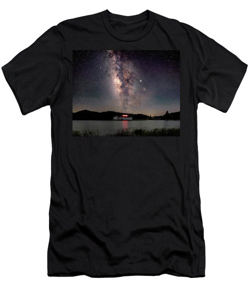 Milky Way Over The Tianping Mountain Lake Temple Men's T-Shirt (Athletic Fit)