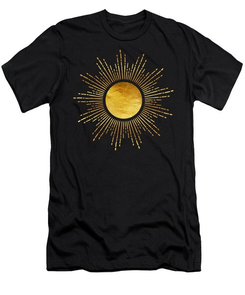Modern Golden Sunburst Starburst Noir Men's T-Shirt (Athletic Fit)