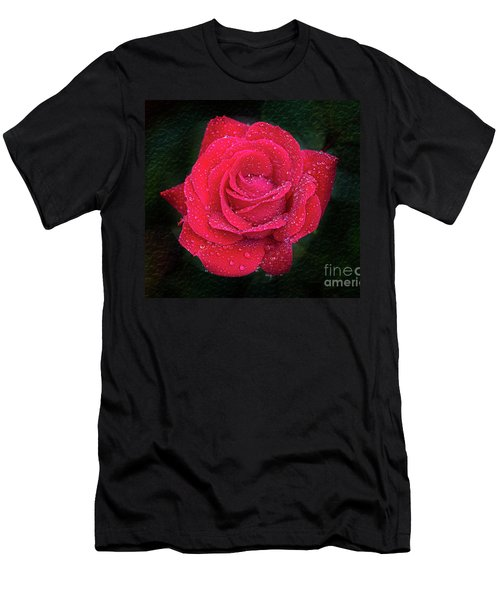Morning Mist On Red Rose Men's T-Shirt (Athletic Fit)