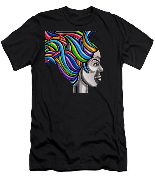 Colorful Abstract Black Woman Face Hair Painting Artwork - African Goddess Men's T-Shirt (Athletic Fit)