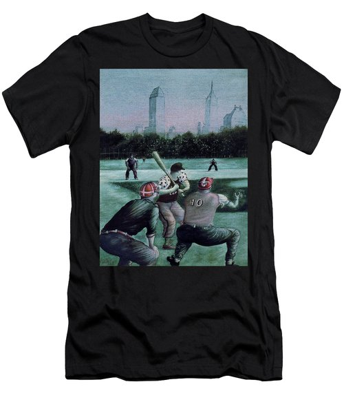 New York Central Park Baseball - Watercolor Art Painting Men's T-Shirt (Athletic Fit)