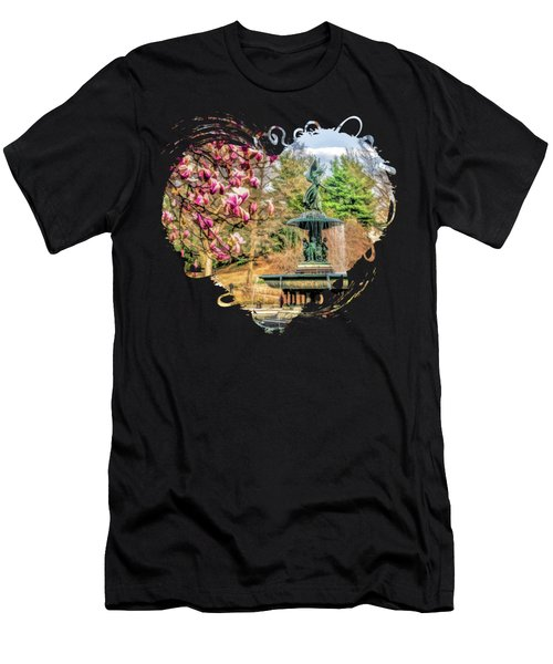 New York City Central Park Bethesda Fountain Blossoms Men's T-Shirt (Athletic Fit)