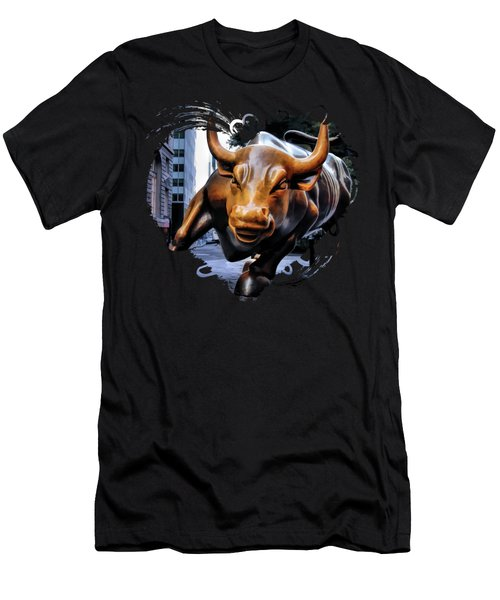 New York City Wall Street Charging Bull Men's T-Shirt (Athletic Fit)