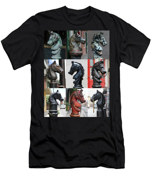 Nine Horse Head Hitching Posts Men's T-Shirt (Athletic Fit)