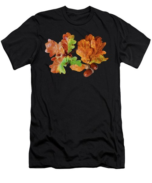 Oak Leaves And Acorns On Black Men's T-Shirt (Athletic Fit)