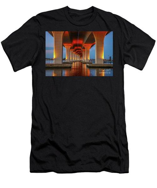 Orange Light Bridge Reflection Men's T-Shirt (Athletic Fit)