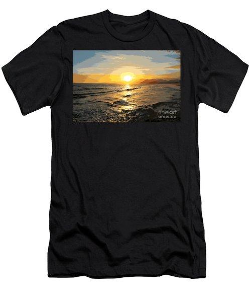 Pacific Sunset Impressionism, Santa Monica, California Men's T-Shirt (Athletic Fit)