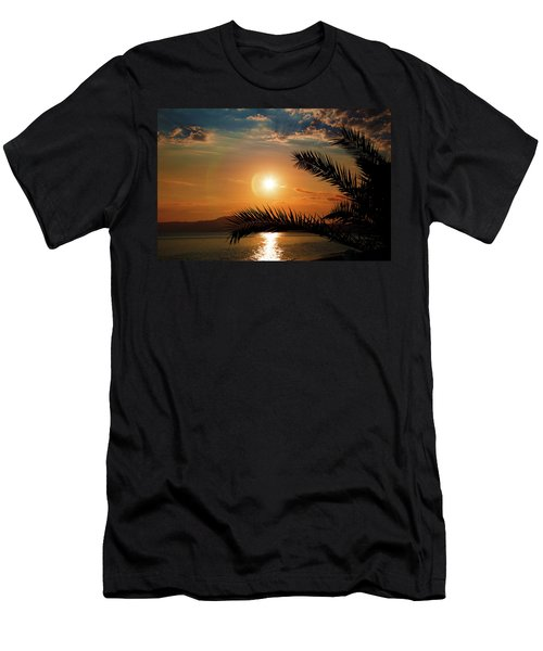 Men's T-Shirt (Athletic Fit) featuring the photograph Palm Tree On The Beach by Milena Ilieva