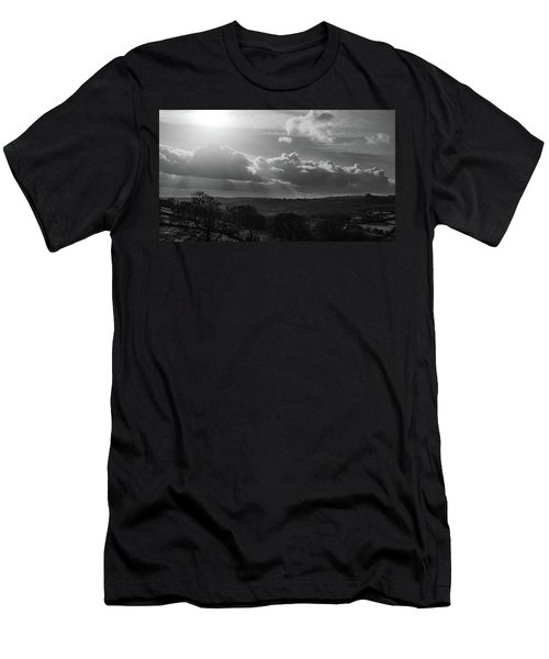 Peak District From Black Rocks In Monochrome Men's T-Shirt (Athletic Fit)