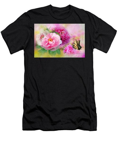 Peonies And Butterfly Men's T-Shirt (Athletic Fit)