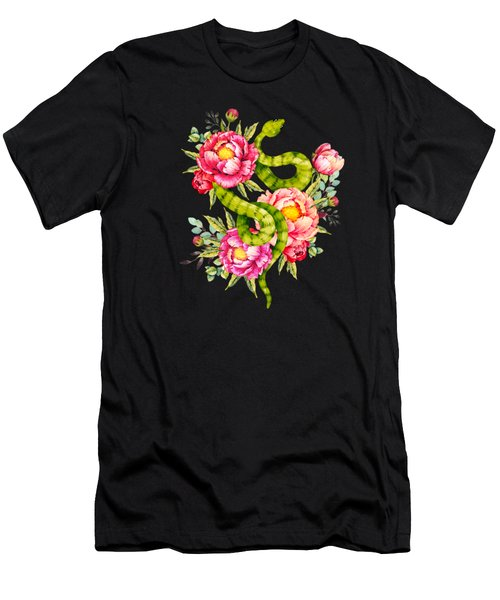 Peony Blossoms Buds And A Green Garden Snake Men's T-Shirt (Athletic Fit)