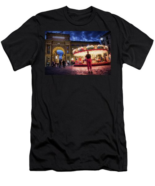 Piazza Della Reppublica At Night In Firenze With Painterly Effects Men's T-Shirt (Athletic Fit)
