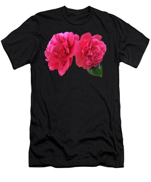 Pink Camellia On Black Men's T-Shirt (Athletic Fit)