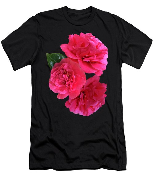 Pink Camellia On Black Vertical Men's T-Shirt (Athletic Fit)