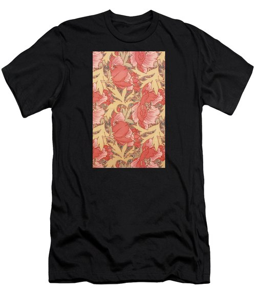 Men's T-Shirt (Athletic Fit) featuring the painting Poppies by William Morris