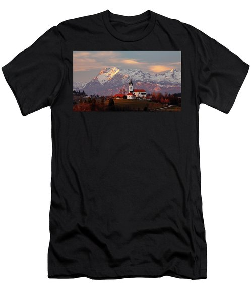 Prezganje Church With Snowy Kamnik Alps In The Background. Men's T-Shirt (Athletic Fit)