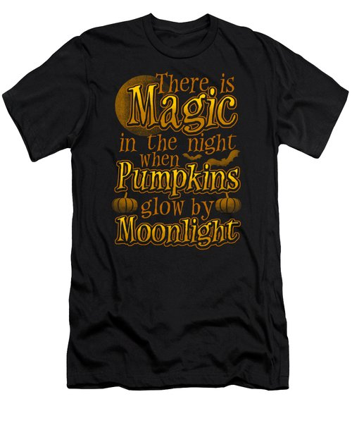 Pumpkins Glow At Midnight Halloween Horror Night Men's T-Shirt (Athletic Fit)