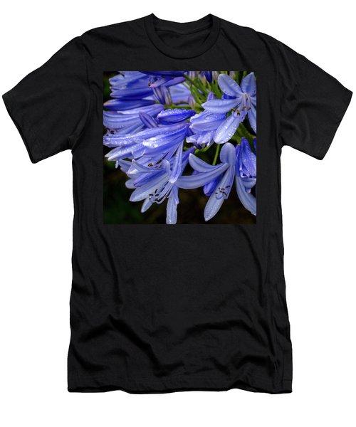 Rain Drops On Blue Flower II Men's T-Shirt (Athletic Fit)