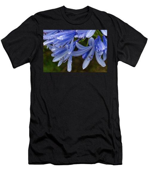 Rain Drops On Blue Flower Men's T-Shirt (Athletic Fit)