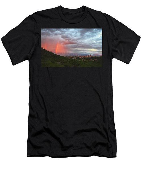 Rainbow Over Tucson Skyline Men's T-Shirt (Athletic Fit)