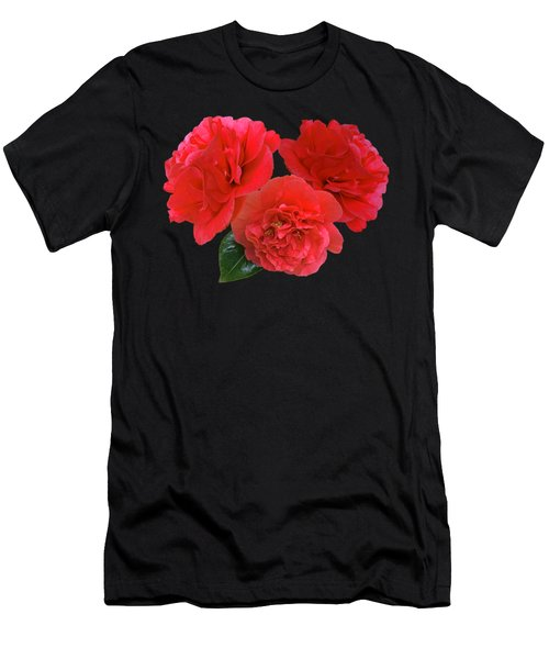 Red Camellias On Black Men's T-Shirt (Athletic Fit)