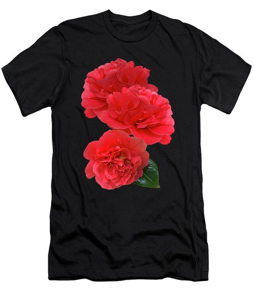 Red Camellias On Black Vertical Men's T-Shirt (Athletic Fit)