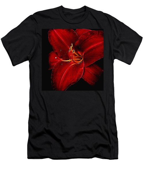 Red Daylily On Black Men's T-Shirt (Athletic Fit)