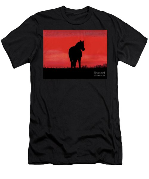 Red Sunset Horse Men's T-Shirt (Athletic Fit)