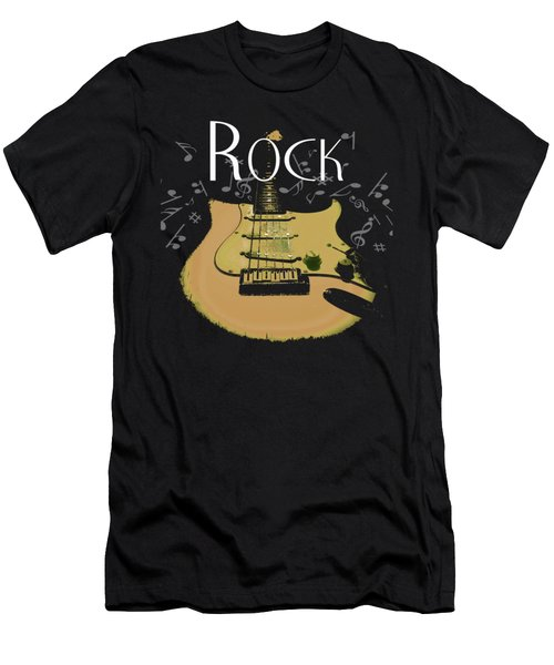 Rock Guitar Music Notes Men's T-Shirt (Athletic Fit)