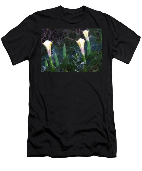 Men's T-Shirt (Athletic Fit) featuring the photograph Sacred Datura Trio - Partial Blooms by Judy Kennedy