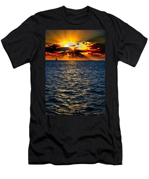 Sailboat Sunburst Men's T-Shirt (Athletic Fit)