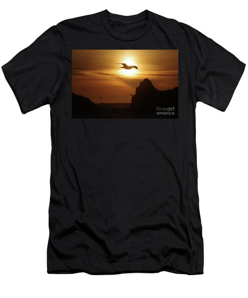 Seagull And Ocean Sunset Men's T-Shirt (Athletic Fit)