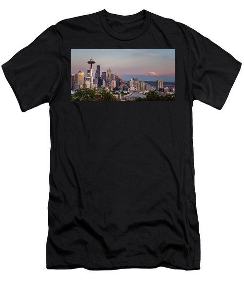 Men's T-Shirt (Athletic Fit) featuring the photograph Seattle Skyline And Mt. Rainier Panoramic by Adam Romanowicz