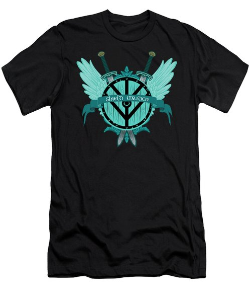 Shield Maiden Badass Warrior Woman Winged Teal Viking Shield  Men's T-Shirt (Athletic Fit)