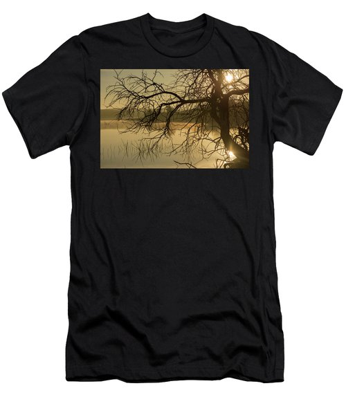 Silhouette Of A Tree By The River At Sunrise Men's T-Shirt (Athletic Fit)