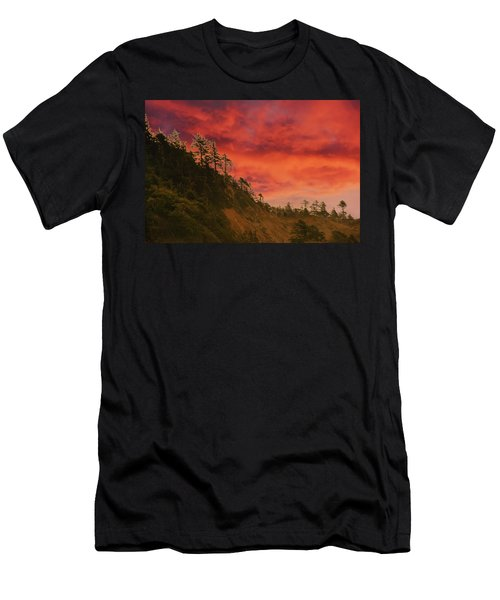 Silhouette Of Conifer Against  Seacoast  Men's T-Shirt (Athletic Fit)