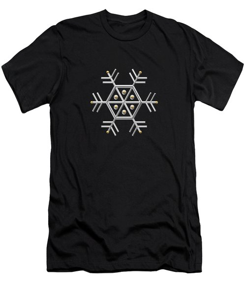 Silver And Gold Snowflake 2 At Midnight Men's T-Shirt (Athletic Fit)